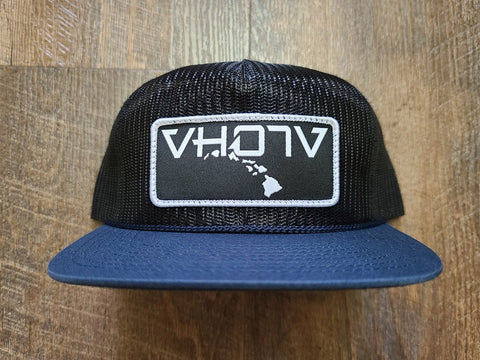 Snapback: Full Mesh Pinch Front Trucker (Navy)