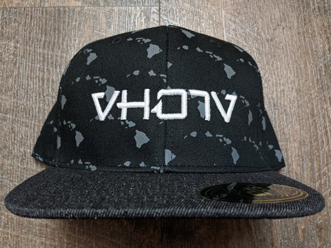 Snapback: Hawaiian Islands / Black Denim 3D Puff logo
