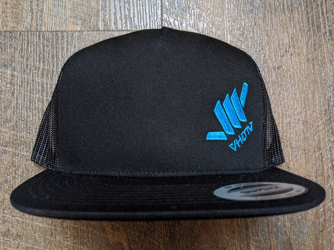 Snapback: Diagonal Mini Shaka (Black Trucker/Electric Blue thread)