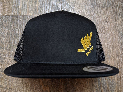 Snapback: Diagonal Mini Shaka (Black Trucker/Shiny Gold thread)
