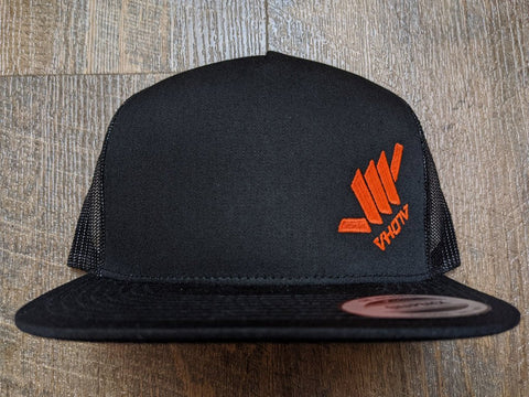 Snapback: Diagonal Mini Shaka (Black Trucker/Orange thread)