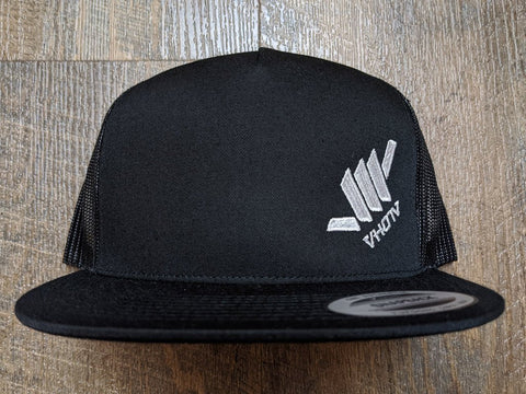 Snapback: Diagonal Mini Shaka (Black Trucker/White thread)