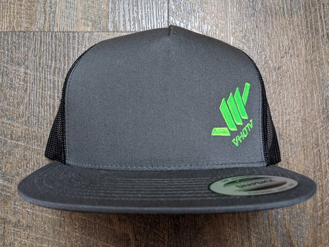 Snapback: Diagonal Mini Shaka (Charcoal Trucker/Neon Green thread)