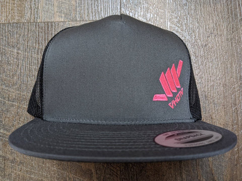 Snapback: Diagonal Mini Shaka (Charcoal Trucker/Hot Pink thread)