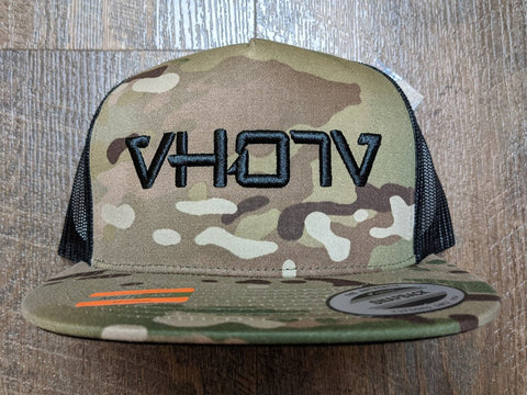 Snapback: Multicam/Black Mesh Trucker with 3D Puff Black Logo - VH07V