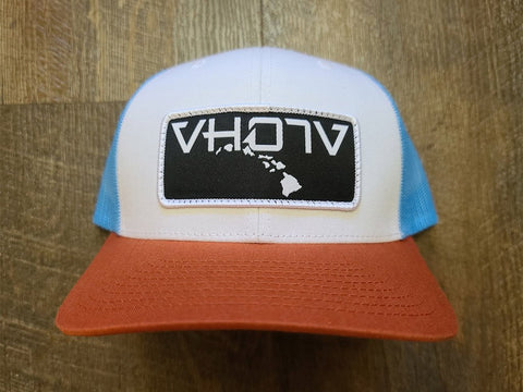 Snapback: Patch Trucker (White/Columbia Blue/Orange) - VH07V