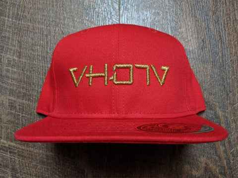 Snapback: Red/Gold 3D Puff logo - VH07V