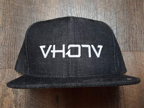 Snapback: Black Denim/White 3D Puff logo - VH07V