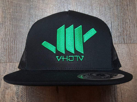Snapback: Shaka (Black Trucker/Green thread) - VH07V