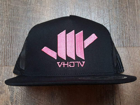 Snapback: Shaka (Black Trucker/Pink thread)