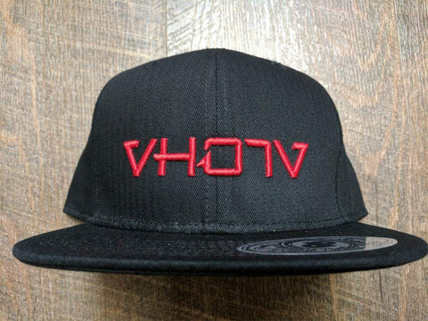Snapback: Black/Red 3D Puff logo