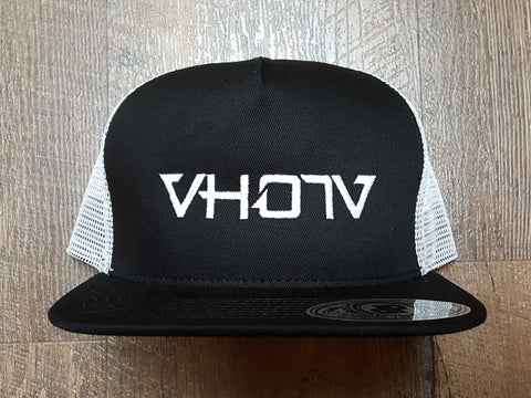 Snapback: Black/White Trucker with large White logo
