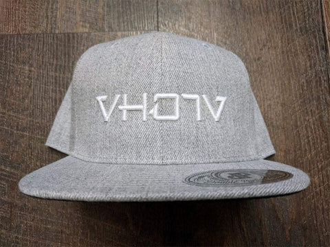 Snapback: Heather Gray/White 3D Puff logo