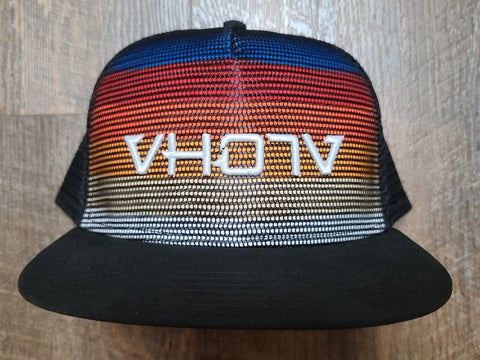 Snapback: Stripes/Black Meshover with 3D Puff White Logo - VH07V