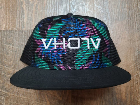 Snapback: Tropical/Black Meshover with 3D Puff White Logo - VH07V