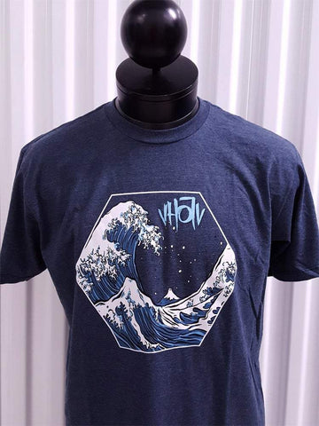 "Fine Jersey Fitted ""Hokusai"" Tee (Navy Heather)"