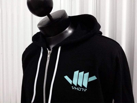 Black/Mint Zip-Up Hoodie