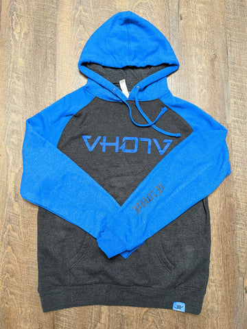 Raglan Pullover Sweatshirt (Charcoal/Royal) - VH07V