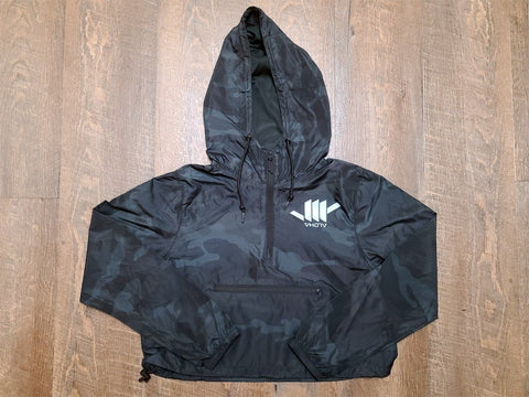 Ladies Lightweight Crop Windbreaker (Black Camo) - VH07V
