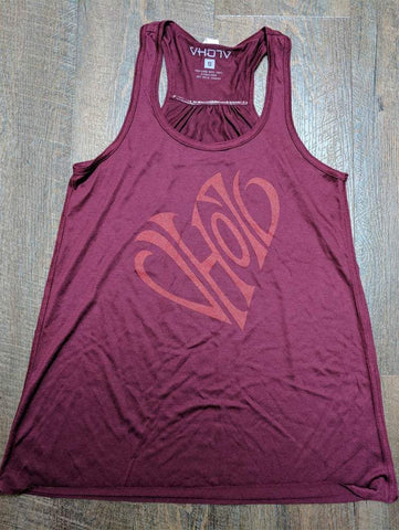 "Ladies ""Heart"" Racerback (Maroon)"