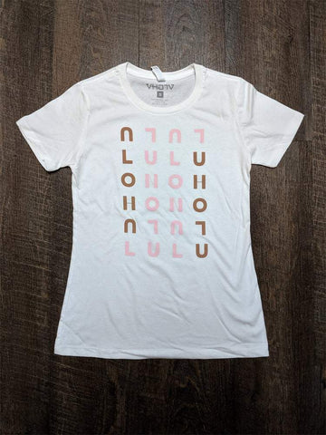 "Ladies ""Honolulu"" Boyfriend Tee (White/Brown/Pink) - VH07V"