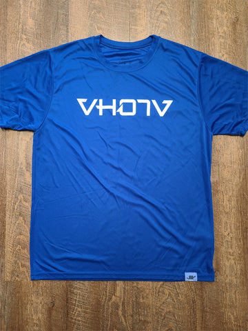 Adult Moisture Wicking T-shirt (Royal Blue/White)