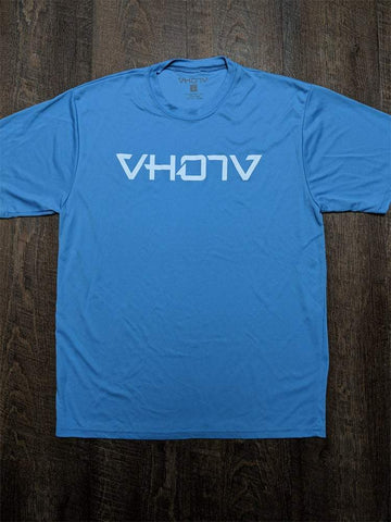 Adult Moisture Wicking T-shirt (Columbia Blue/White) - VH07V