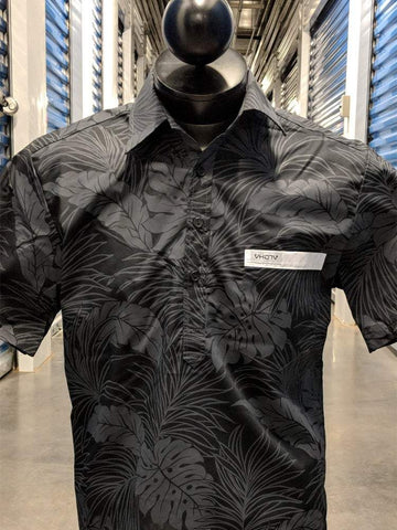All Black Floral Aloha Shirt with White Strip