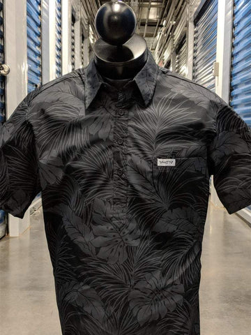 All Black Floral Aloha Shirt