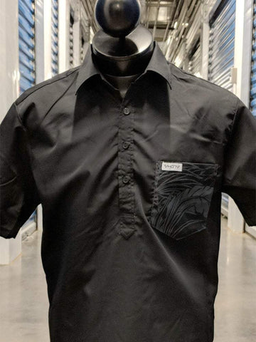 Solid Black/Black Floral - Pocket Aloha Shirt - VH07V