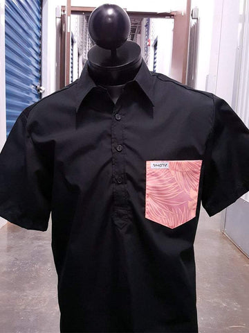Solid Black/Coral Floral - Pocket Aloha Shirt