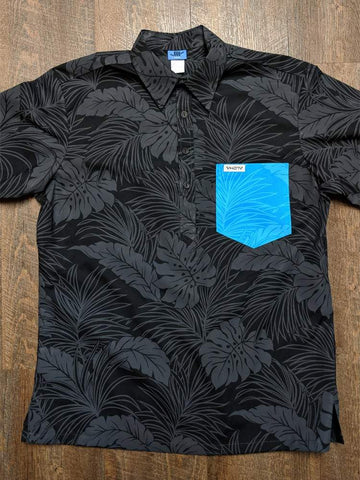 All Black Floral Aloha Shirt with Turquoise Floral Pocket