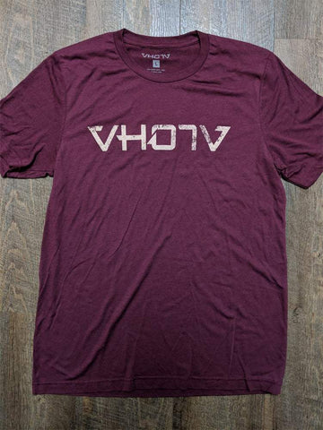 "Soft Triblend ""Fade"" Tee (Maroon/Creme) - VH07V"