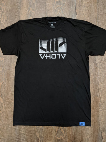 "Fine Jersey Fitted ""Wave"" Tee (Black) - VH07V"