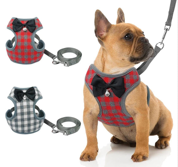A super cute small dog harness with bowtie