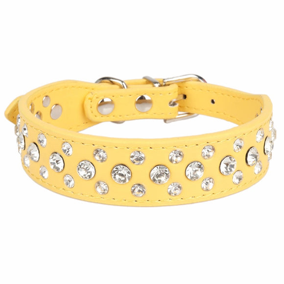 Rhinestone dog collars - yellow