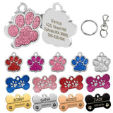Glitter paw print cat or dog tags - big selection