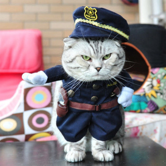 Cat wearing police uniform wearing Halloween Cat Costumes