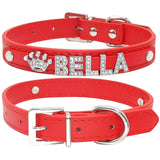 Custom leather dog collars: bling for your baby - red