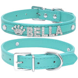 Custom leather dog collars: bling for your baby - aqua