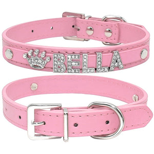 Custom leather dog collars: bling for your baby