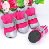 Reflective dog winter boots, suitable for cats in pink
