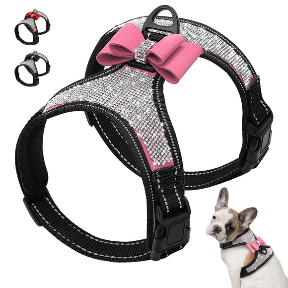 A classy sparkly leather dog harness with rhinestones pink ribbon