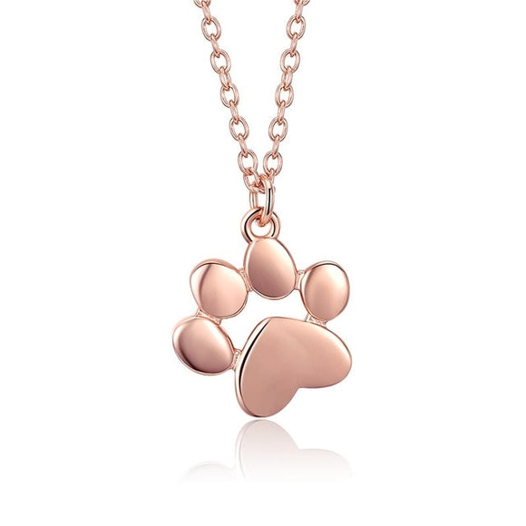Sweet paw print necklace for women - rose gold