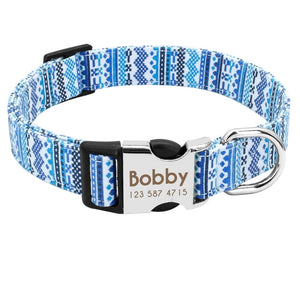 Personalized dog collars with an engraved ID tag