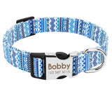 Personalized dog collars with an engraved ID tag in blue