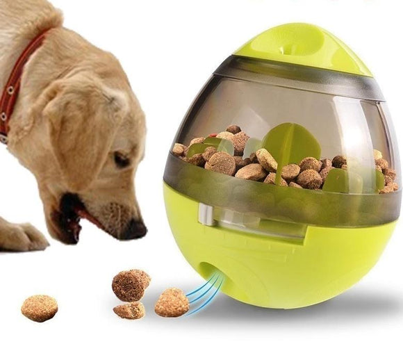 Fun dog treat dispenser toy to reduce anxiety and boredom