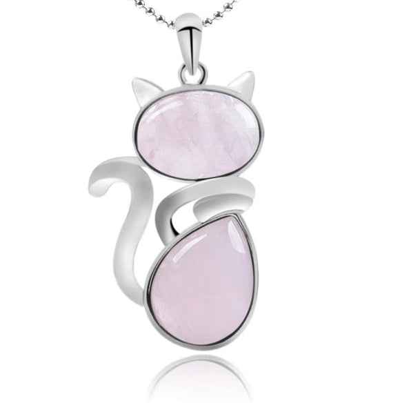 Cute cat rose quartz pendant for love and healing