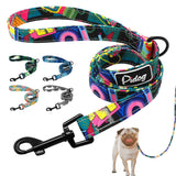 Reflective Rope Dog Leash colourful with pug