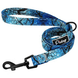 Reflective Rope Dog Leash light blue, white and black